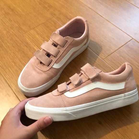 Velcro Old School Suede Pink Vans